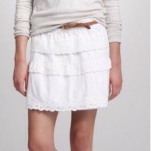 J. CREW tiered eyelet lace white skirt